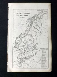 Cornwell & Dower 1849 Antique Map. Sweden, Norway and Denmark